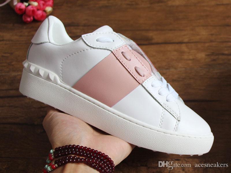 Offene Designer Schuhe Top Qualität Weiß Herren Paar Echtes Leder Designer Sneaker Luxus Beste Streifen Freizeitschuhe für Frauen