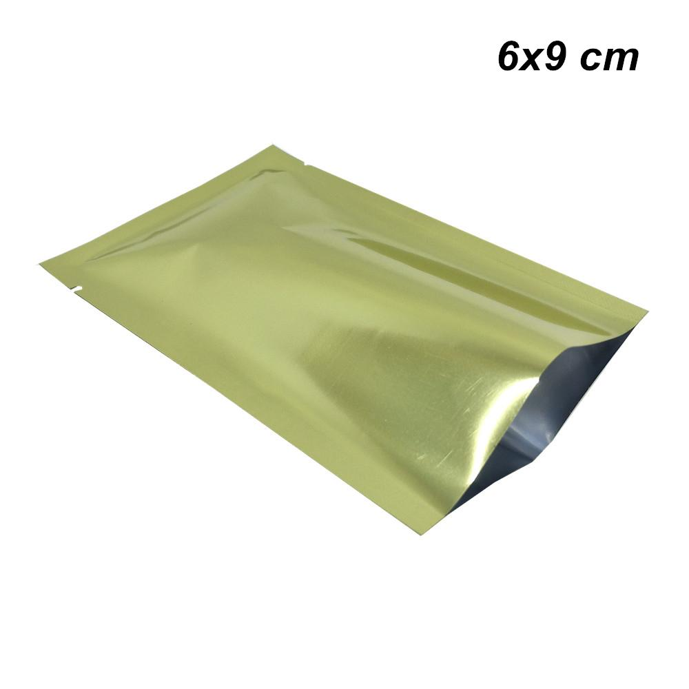 200pcs Lot 6x9 cm Glossy Gold Open Top Heat Sealable Mylar Foil Vacuum Food Grade Bag Smell Proof Aluminum Foil Pack Pouch for Cookies Candy