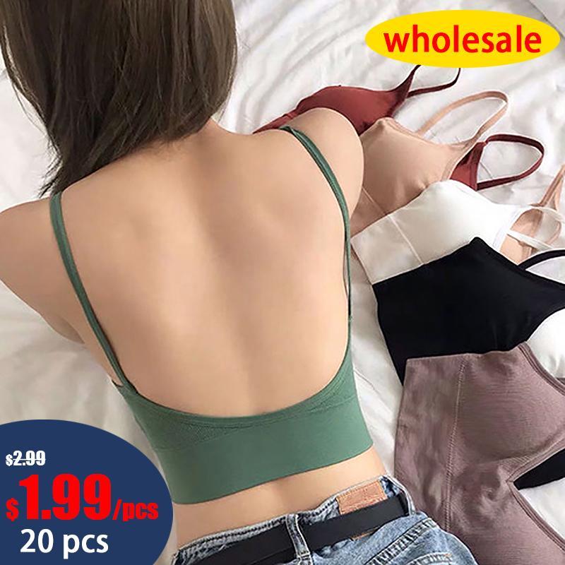 Wholesale 20pcs Bras For Women Sexy Women Bra Solid Color Tank Crop U shaped Back Underwear Push up Seamless Women's Underwear