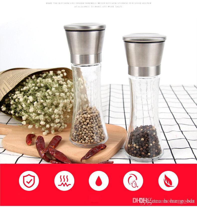 Manual de botella Sal Pimienta Molino Grinder condimento cristal Contenedor Condimentos Jar Botellas coctelera Molienda de abrasión herramienta de la cocina RR