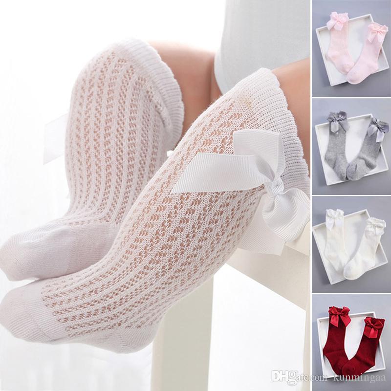 Nuevos calcetines del bebé del Bowknot de la colmena del verano del bebé recién nacido de la rodilla calcetines de la princesa niños transpirable rodilla infantil calcetines altos Sokken