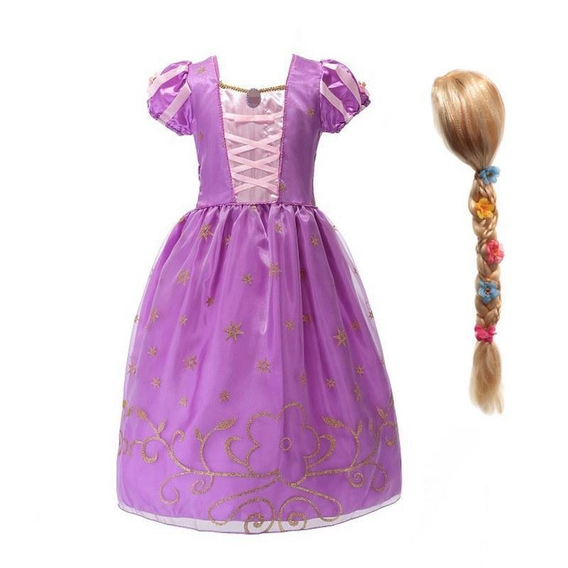 MUABABY девушки Рапунцель Принцесса костюм дети фиолетовый запутанный маскарадный костюм косплей костюм с коротким рукавом Хэллоуин одежда для вечеринок T200624
