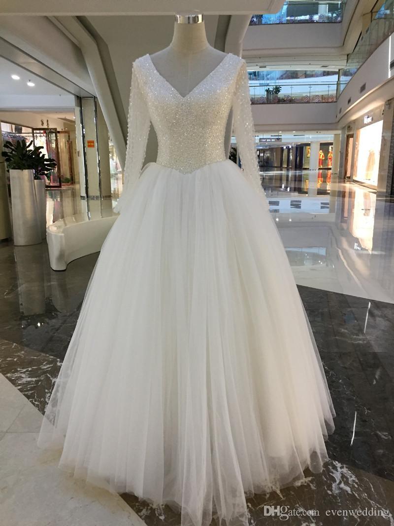 Grânulos de Lantejoulas V Neck Vestidos de Noiva 2020 Mangas Compridas Vestidos de Noiva Marfim Branco Vestido de Noiva vestidos novias boda