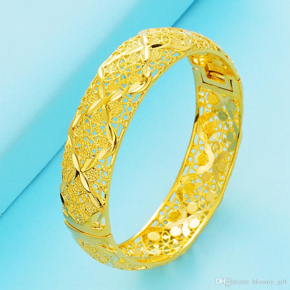 Regalo nuziale Riempito modo classico apribile BRACCIALI regalo Dubai festa nuziale di Bella Womens braccialetto Hollow oro giallo 18k