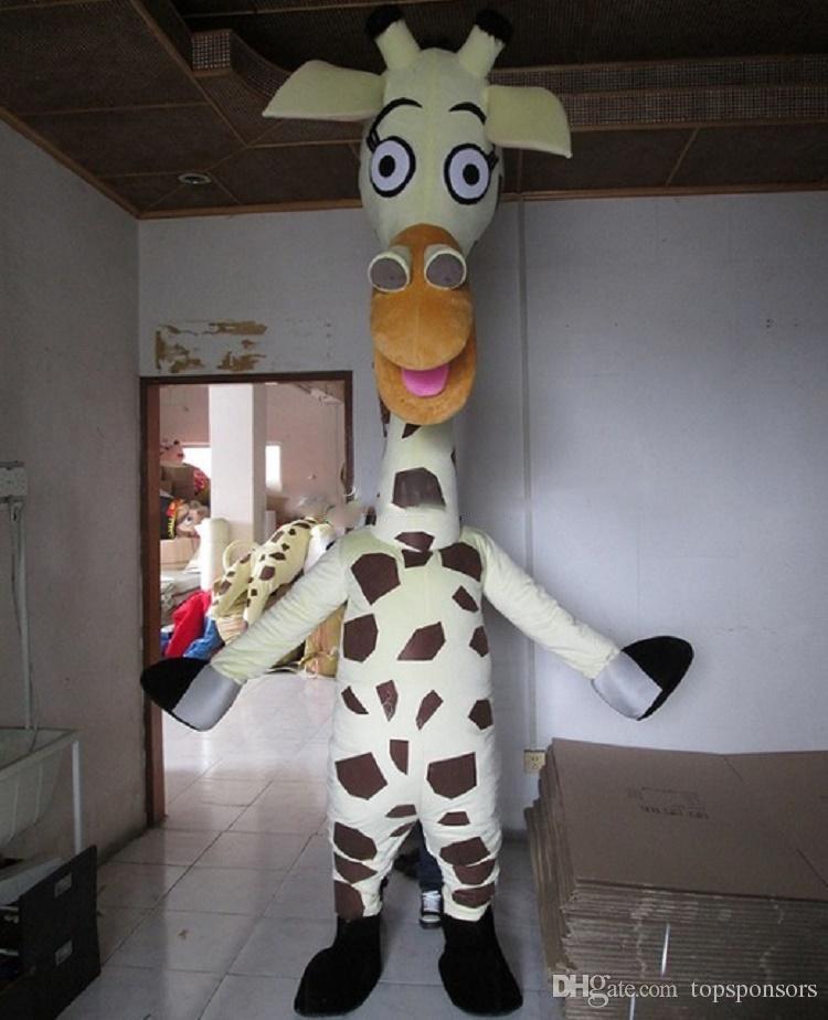 Erigere a piedi speciale giraffa bianca il costume mascotte costume adulto mascotte fatto a mano