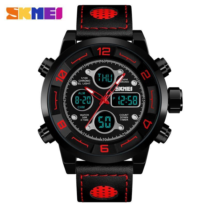 SKMEI Outdoor-Sport-Digital-Uhr-Mann-3Bar Wasserdicht Chronograph Stoppuhr Dual Display Armbanduhr Relógio Masculino 1371