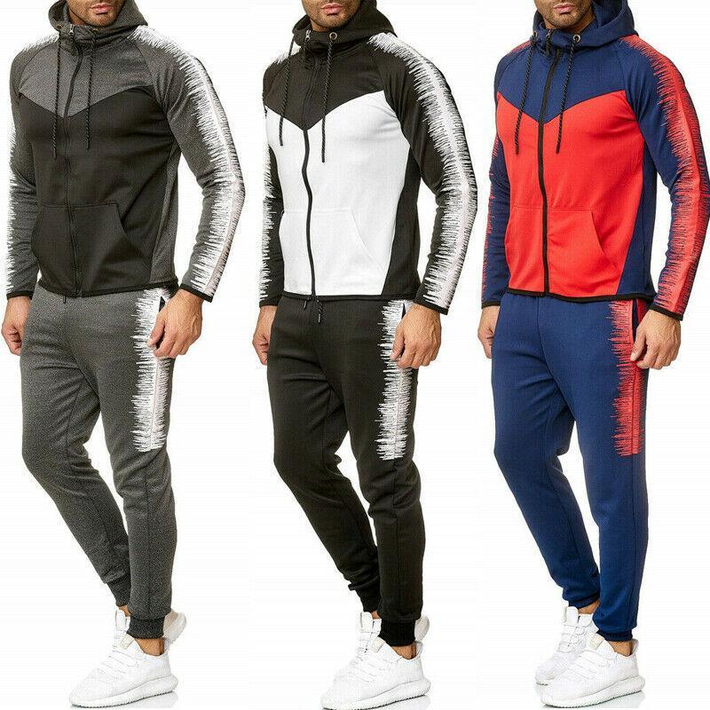 2 조각 세트 남성 후드 캐주얼 운동복 스포츠 재킷 스웨터 탑과 바지 2PCS 정장 세트 가을 겨울 정장