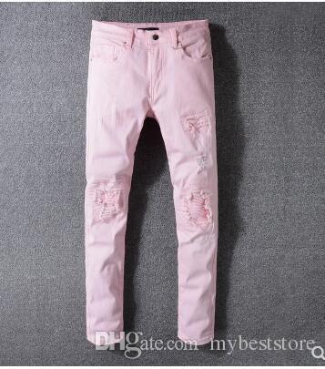 2018 jeans attillati per uomo jeans con fori strappati Motociclista Pantaloni in denim Uomo Jeans stilista di marca da uomo Hip Hop