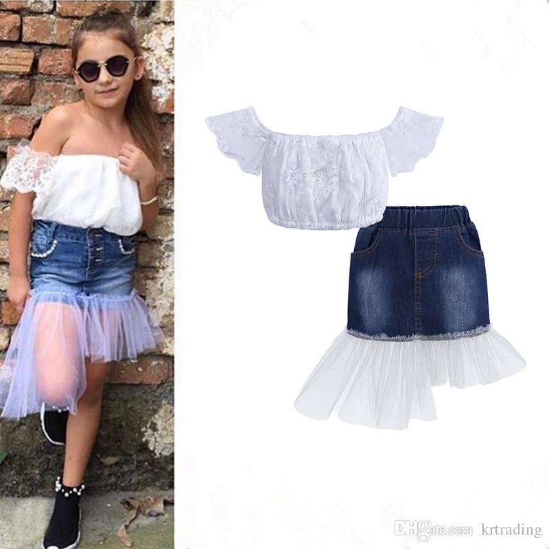 Kızlar Summmer Denim etek kıyafetler 2 adet set nakış dantel Straplez üst + dantel ekleme denim etek 1-7 T kızlar moda giyim ins 2019