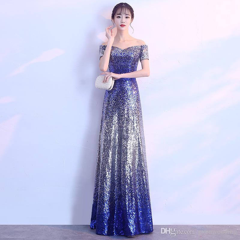 블링 스팽글 오프 댄스 파티 드레스 2020 패치 워크 긴 이브닝 가운 우아한 파티 드레스 로얄 블루 숄더