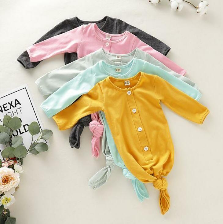 Yenidoğan Uyku Tulumu Karşıtı vuruşu Katı Düğme Pijama Bebek Nightgowns Bebek Yumuşak Pamuk Swaddles İlkbahar Sonbahar Nightgowns sarar BYP703
