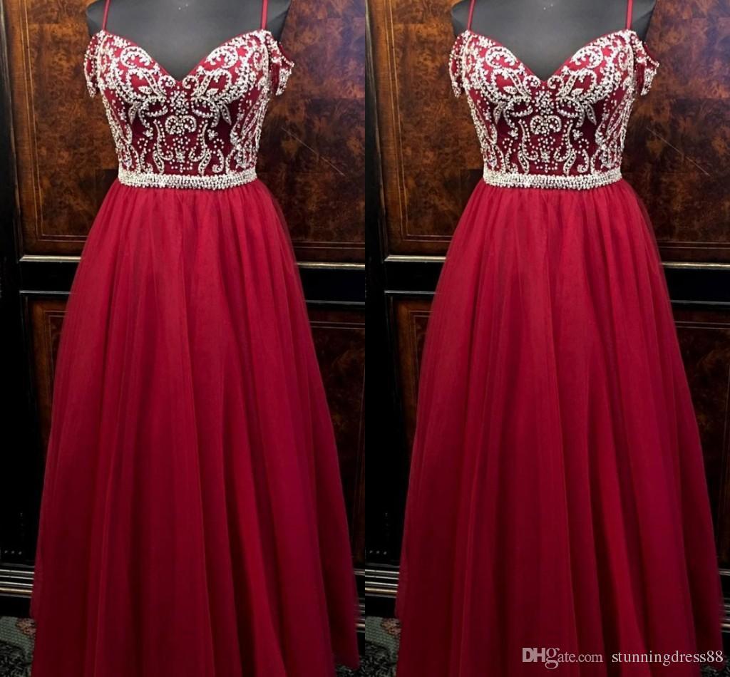 Moda elegante hombro frío Borgoña noche vestidos de baile Rhinestones con cuentas de tul imperio alfombra roja vestido de fiesta vestidos formales baratos