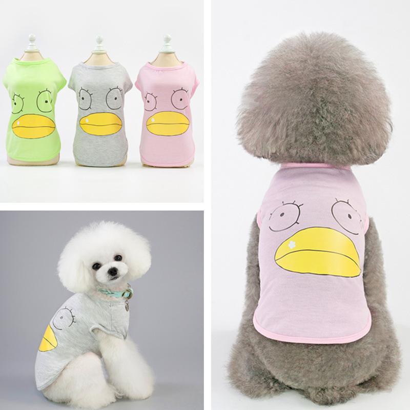 Pet vest spring and summer 19 new dog clothes cat clothes Teddy bear breathable cartoon cotton vest spot wholesale