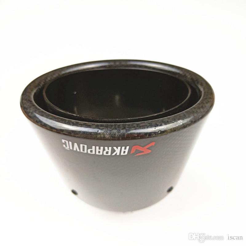 Akrapovic ovale style brillant en fibre de carbone noir échappement en acier inoxydable Astuce VOITURE MODIFIDE SILENCIEUX tuyau fin (1 pièce)