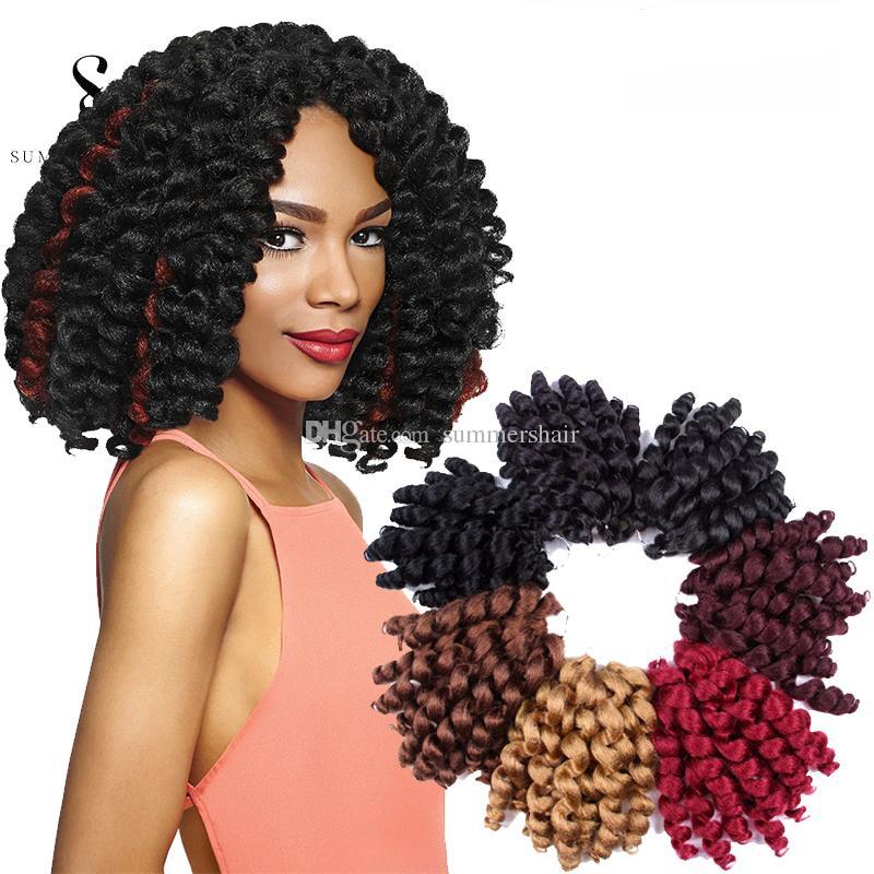 Wand Curls Crochet Hair Extensions 6packs Jamaican Bounce Wand Curled Hair Synthetic Braiding Hair 8 Inch