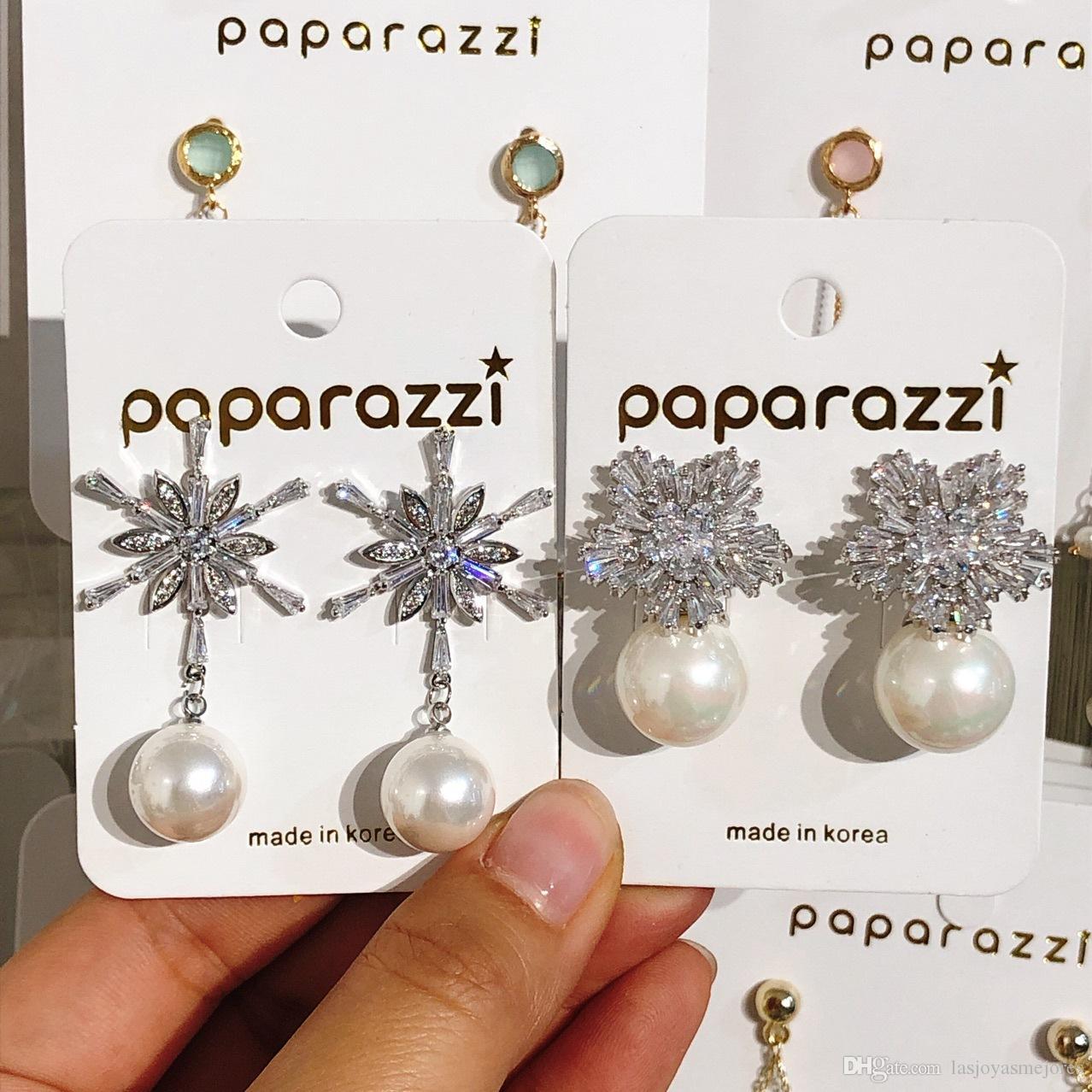 Super brillante scintillante stilista di lusso di lusso fiocco di neve coreana diamante zircone orecchini di perle pendente per donna perno d'argento