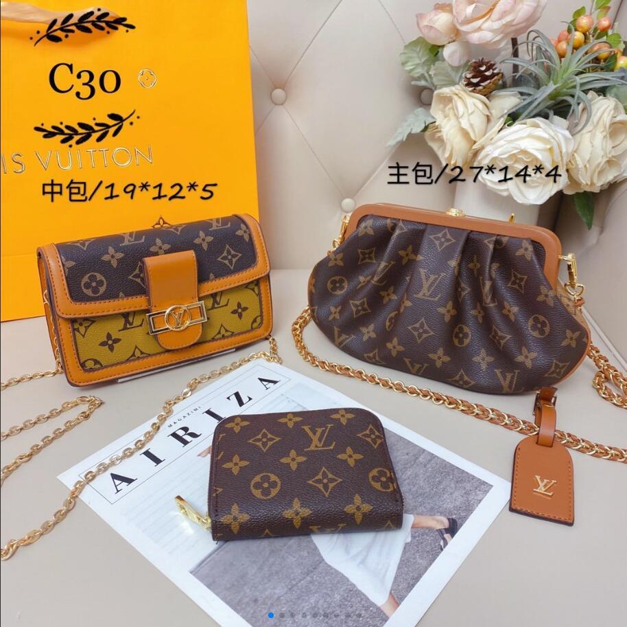 2020 nuova moda borsa crossbody classico stile retrò tre pezzi di spalla delle signore sacchetto crossbody portatile borsa crossbody zaino portafoglio
