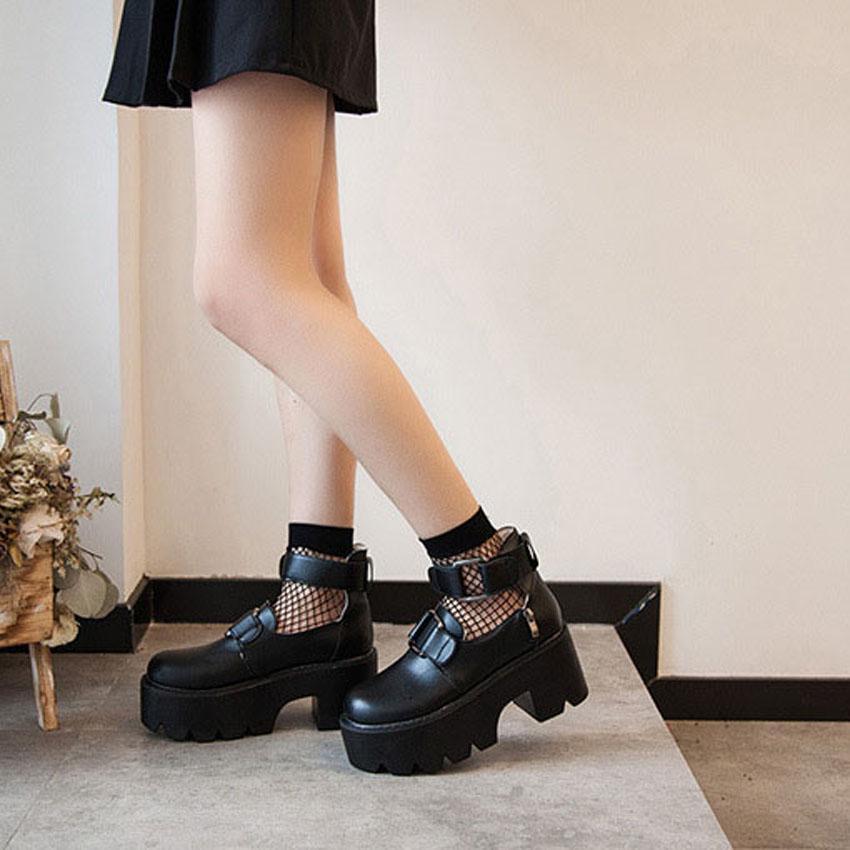 Gothic Lolita Round Head Mary Jane Shoes College Japanese Girl JK Uniforme PU Leatehr Plateforme Sangle Chaussures imperméable noir
