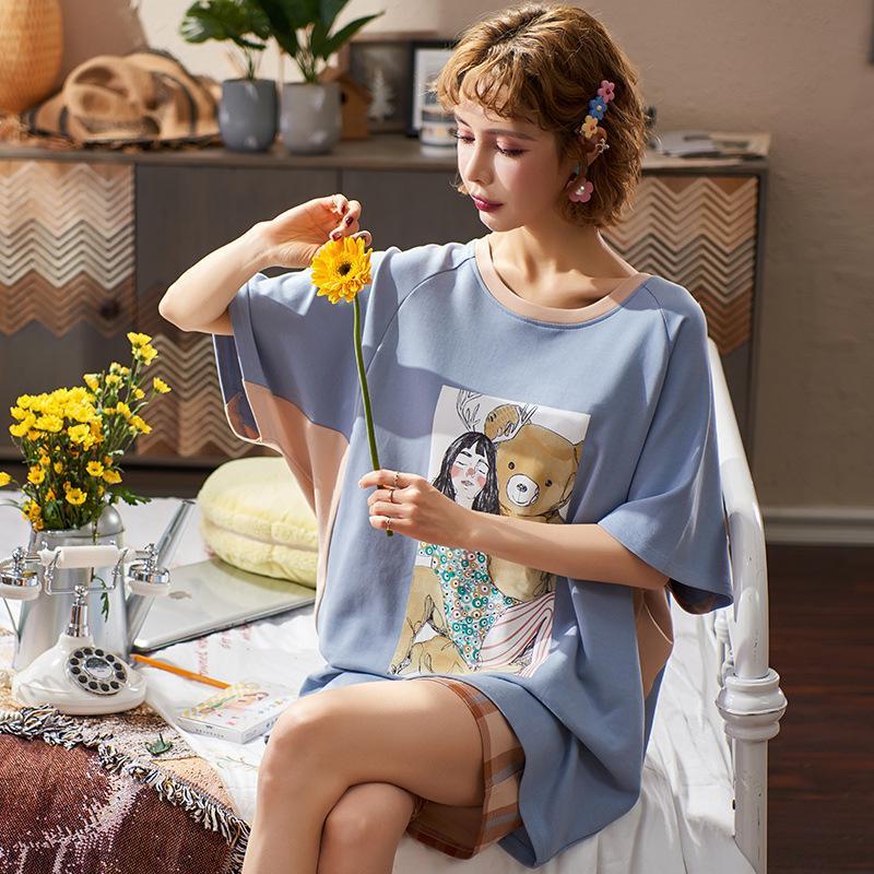 Yaz Pijama Sevimli Karikatür Gevşek Ev Suit Short Sleeve Şort Pamuk Kadınlar Pijama Dış Ev giysiler giyin Can