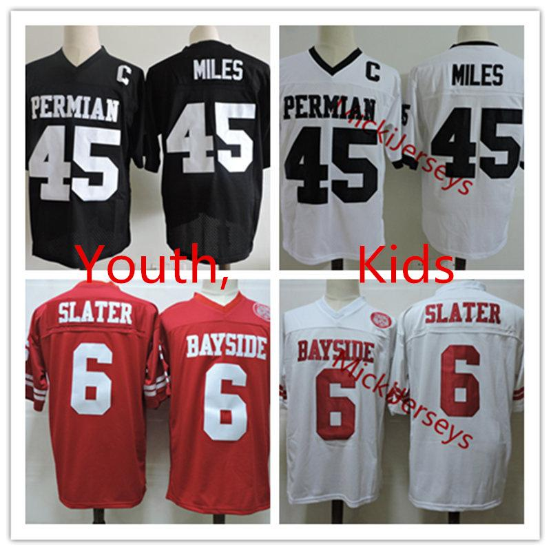 Youth #45 Boobie Miles Friday Night Lights Football Jersey Stitched Kids #6 AC Slater Saved By The Bell Bayside Tigers Movie Jersey S-2XL