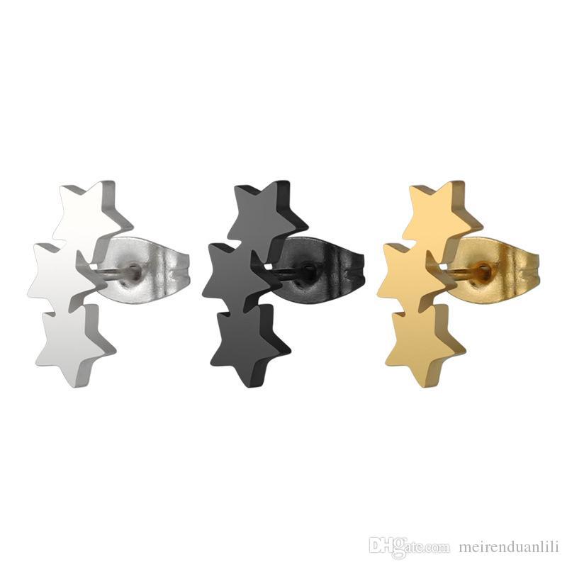Orecchini a forma di stella a forma di tre Punk per gli uomini Donne Orecchini a forma di unisex Street Bar per i biker Orecchini in acciaio inox