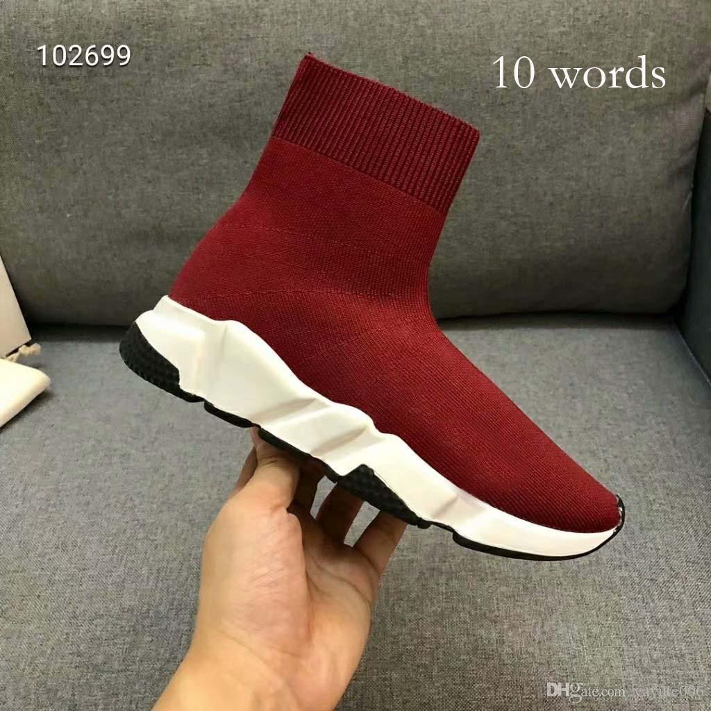 Designer Sneakers Speed Trainer Black Red Black Fashion Flat Sock Boots Casual Shoes Speed Trainer Runner With 2 words and 10 words