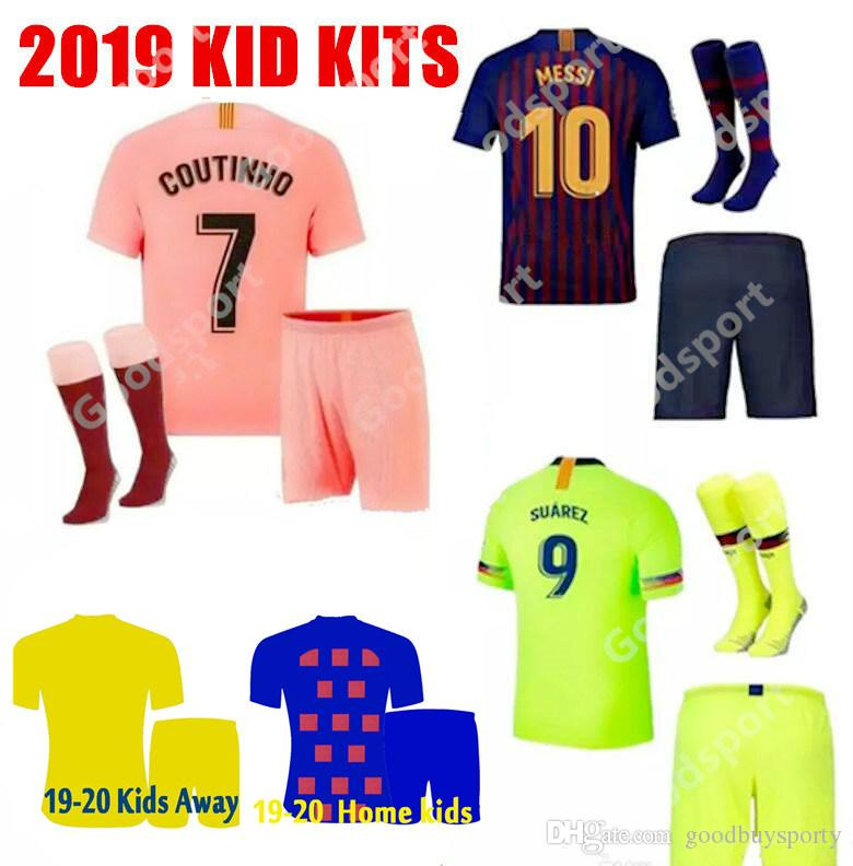 KID KITS 2020 soccer jerseys hot FOOTBALL calcio futbol messi shirts Children youth socks shorts sport pink PIQUE COUTINHO DEMBELE 19 SPORT