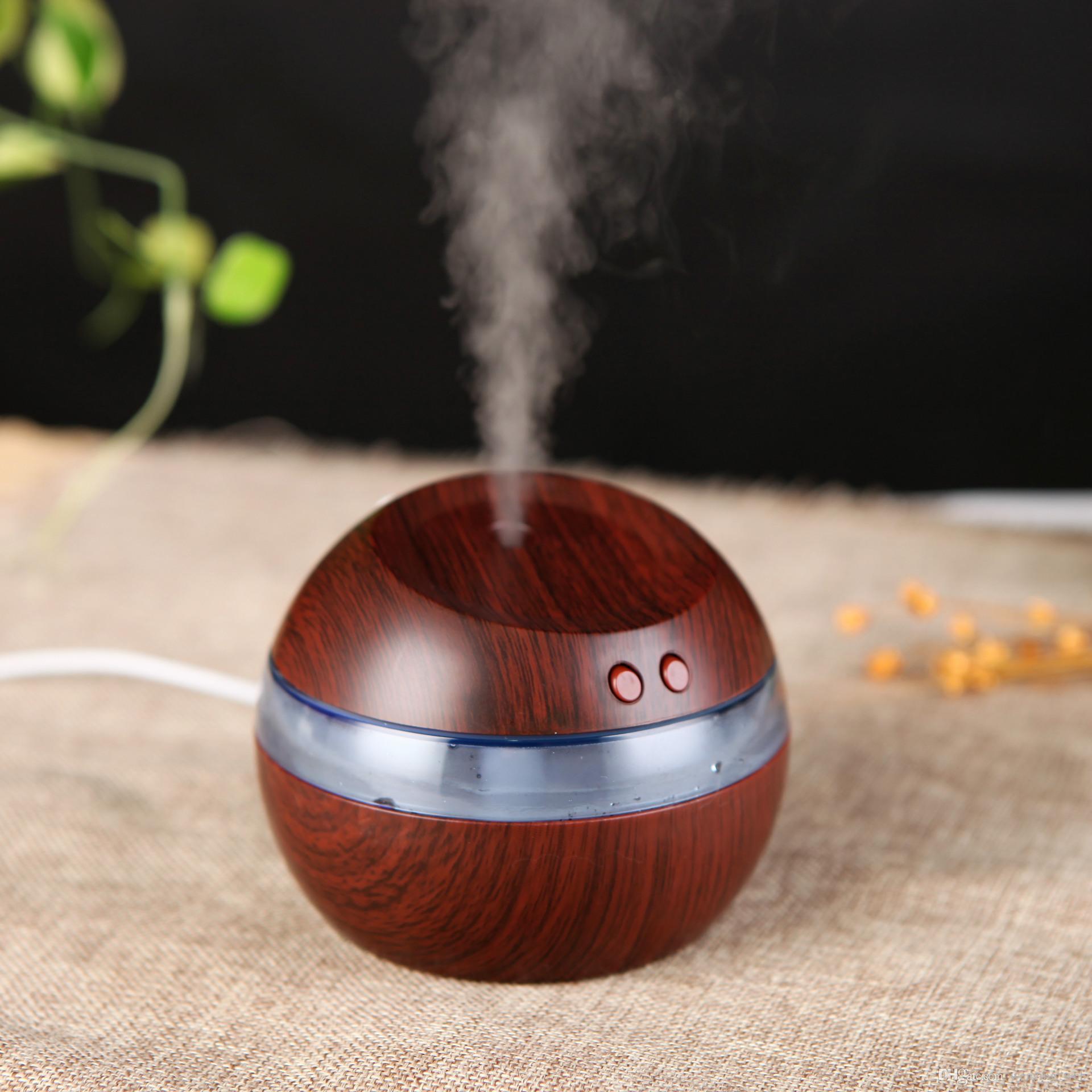 أرخص !! DHL USB المرطب بالموجات فوق الصوتية الخشب الحبوب من الضروري النفط الناشر 300ML صانع ضباب أضواء LED لحرية الملاحة