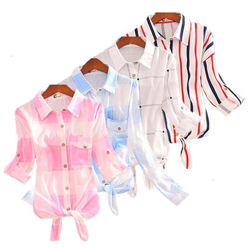 Kadınlar Bluz Tasarımcı Pamuk% 100 Kadınlar Kısa 3 4 Uzun Kollu Bluz Sonbahar Gömlek Ekose Tunik Bayan Harajuku Bayanlar Moda Tops