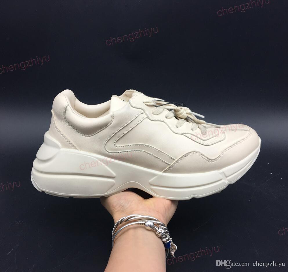 Zapatillas de deporte de la mejor calidad para hombre Rhyton de zapatos de moda casual papá la zapatilla de deporte de París Baile Streetwear principios de la primavera de las mujeres de cuero grueso inferior con la caja