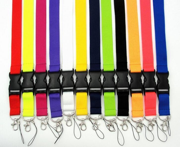 Großhandel lot mix 20 stücke einfarbig lanyard für mp3 / 4 handy schlüsselanhänger lanyards