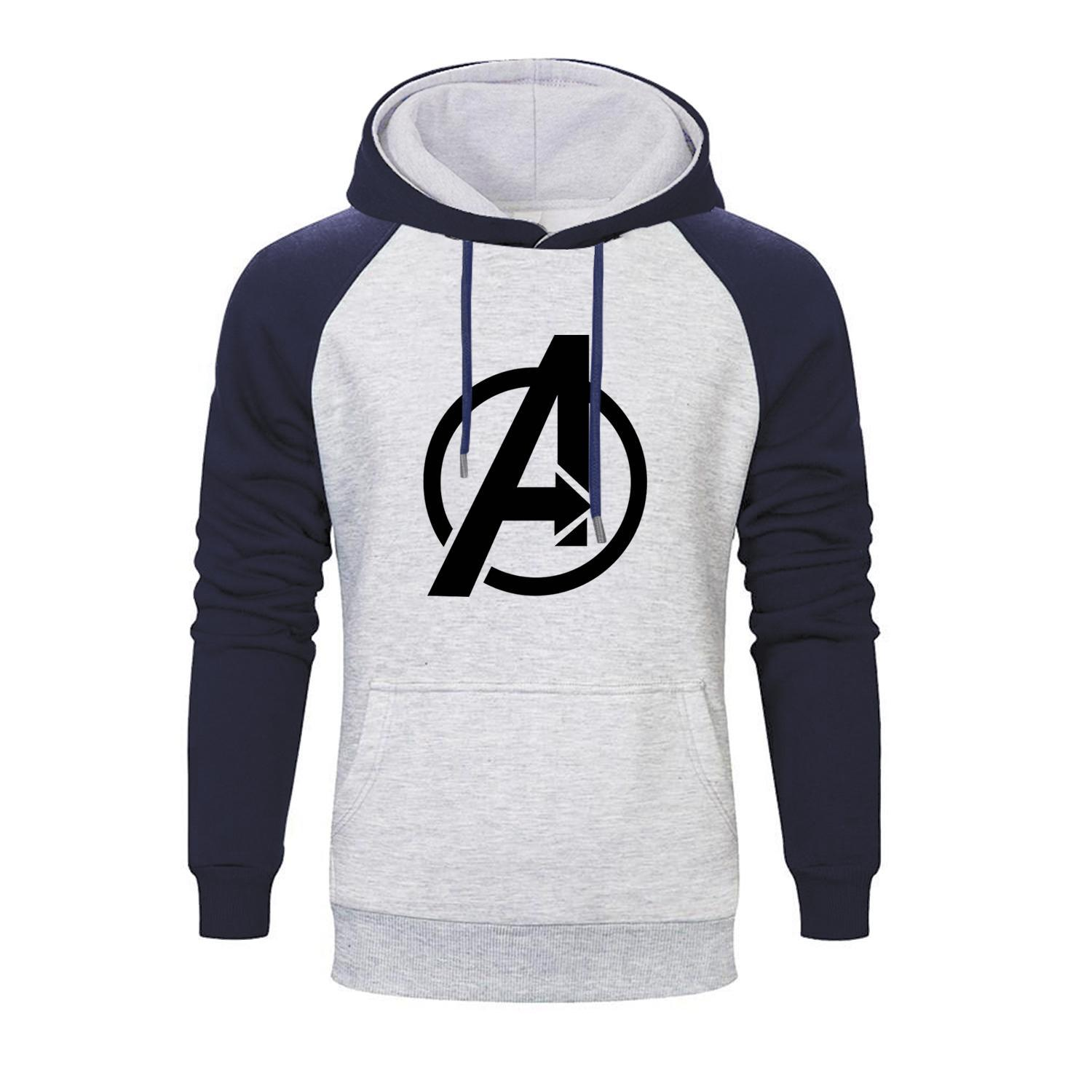 Marvel Movie Avengers Logo Printed Raglan Hoodies Men Autumn Thanos Infinity Gauntlet Men's Sweatshirts Brand Pollovers