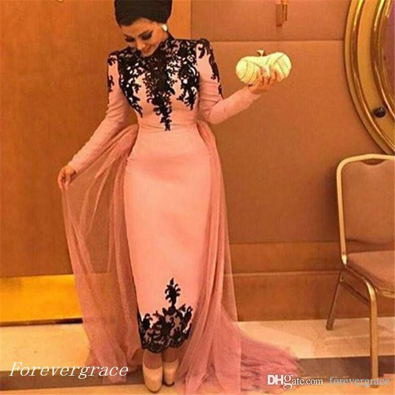 2019 Musulmano maniche lunghe abito da sera collo alto in pizzo Appliques caviglia lunghezza formale usura di festa Prom Party Gown Custom Made Plus Size