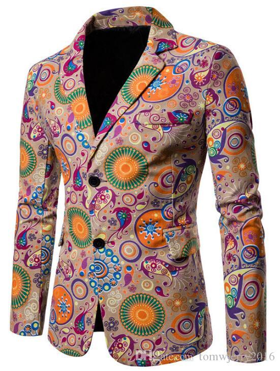New Men's Suit for Foreign Trade in 2019 National Style Printed Cotton and Hemp Fabric Leisure Men's Colored Suit Jacket