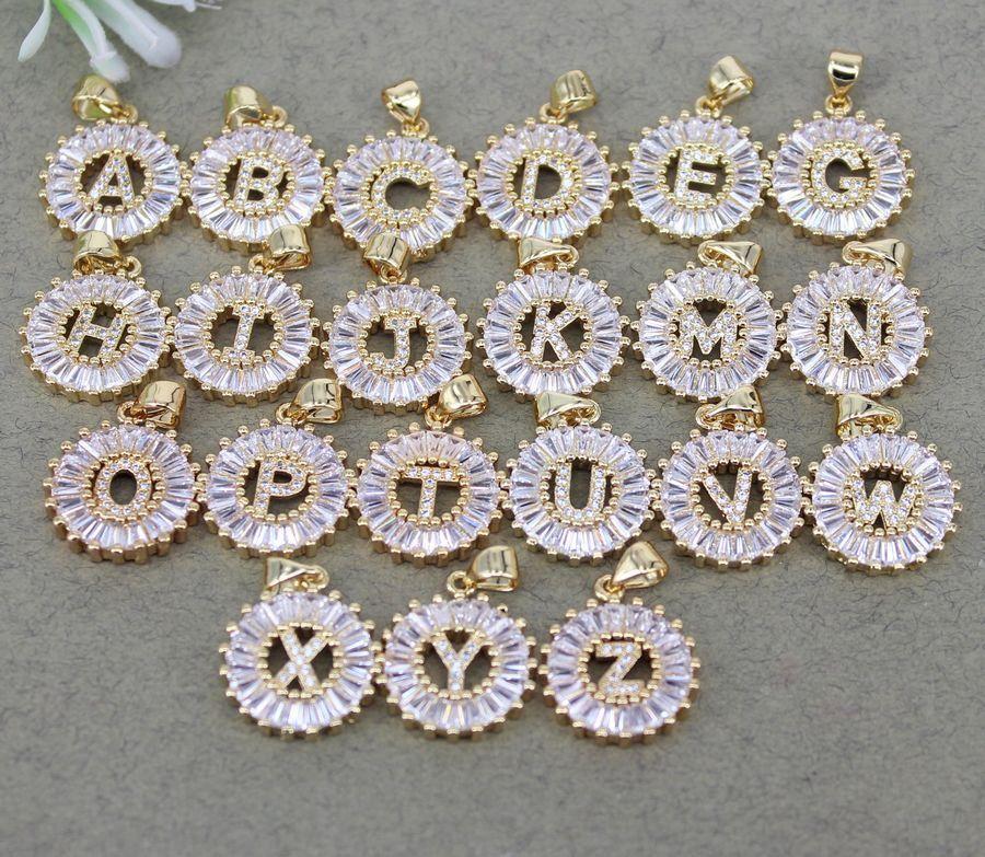 26pcs Metal Copper Cubic Zirconia Alphabet A-Z Letters pendant Beads,Micro Pave CZ Pendant For Jewelry Making