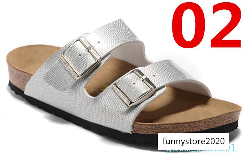 Zapatillas estilo de Arizona Las mujeres sandalias planas de las mujeres doble hebilla famosa playa de verano diseño de zapatos de calidad superior de cuero auténtico 36-47 G01