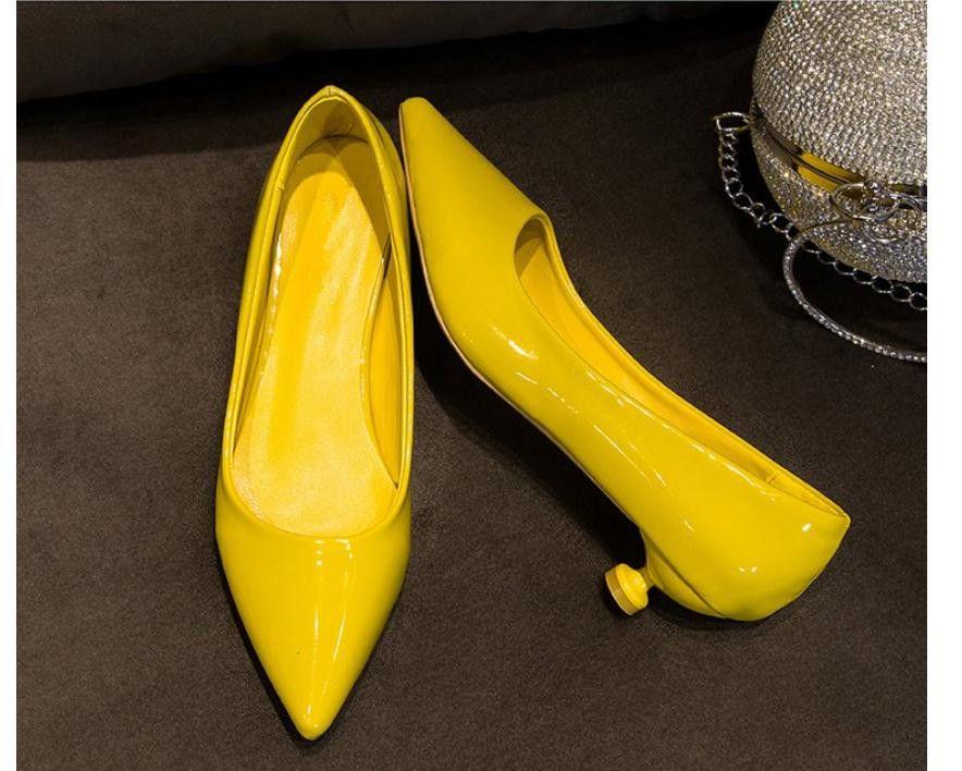 2020 весной и осенью с новой моды стиль Средний каблук тонкой пятки заостренный конец обувь Женская @ MQWBH395