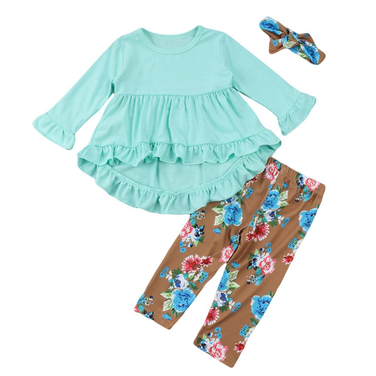 새로운 패션 어린 여자 의류 블루 주름 t 셔츠 탑 + 꽃 무늬 바지 머리띠 3PCS 유아 아동 의류