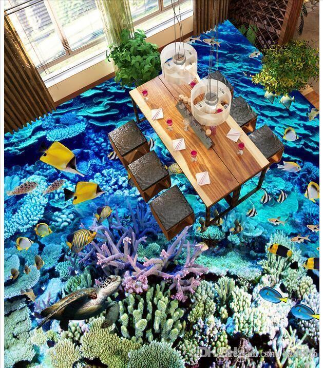 Pvc 3d bodenbelag benutzerdefinierte foto Wasserdichte boden wandaufkleber tiefblaue unterwasserwelt korallen fisch schule wohnzimmer 3d wandbilder tapete