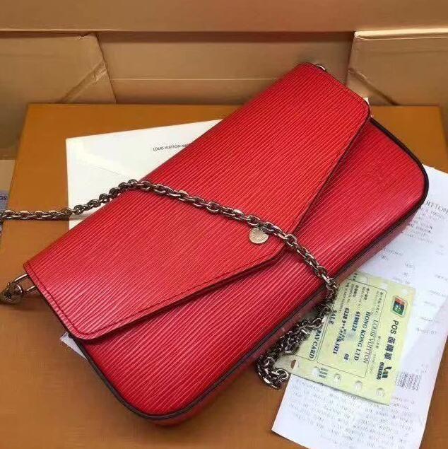 Marca Pochette alta qualità Pochette genuina borsa ipe in pelle con contenitore di 61276 donne Flap Piccolo PPCHETTE FELICIE Shoulder Bag