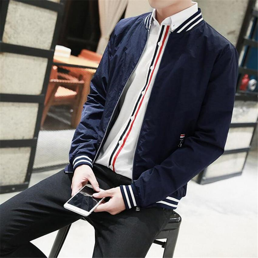 2019 New Europe Style Men Hoodie Youth Casual Stand Collar Jacket Men Baseball Jackets Solid Thin Windbreaker Spring Autumn Coats