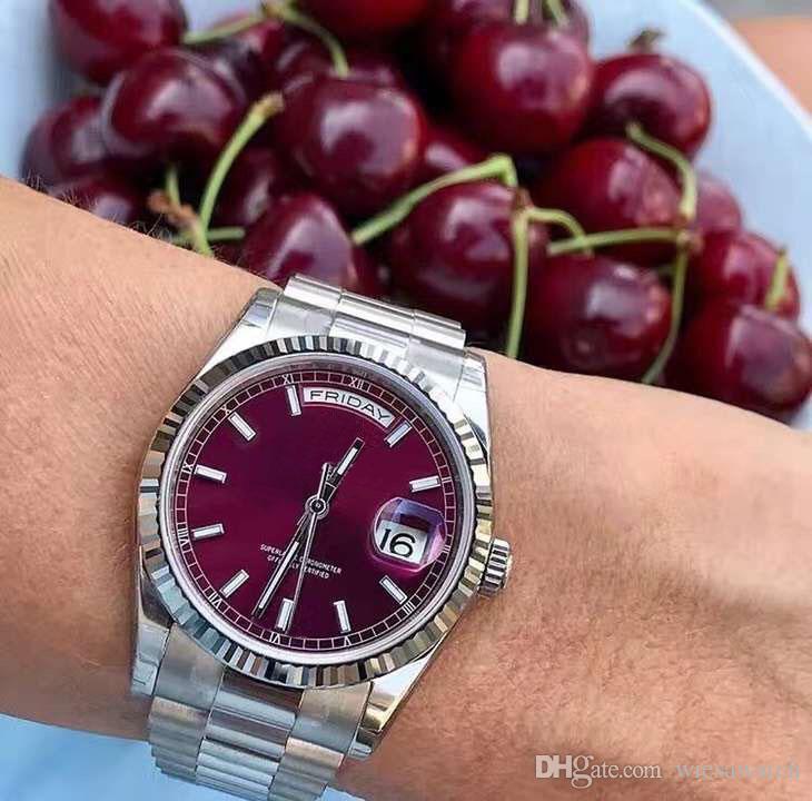 Outdoor 41MM Red Dial Movimento Automático Men Relógios de pulso Presidente Bracelet Mens Watch cristal de safira Dia e Relógios Data