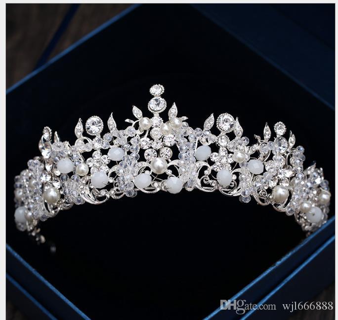 Acessórios de casamento de aro de cabelo de coroa coreana de cabelo de pérola de cristal de cocar de cabelo