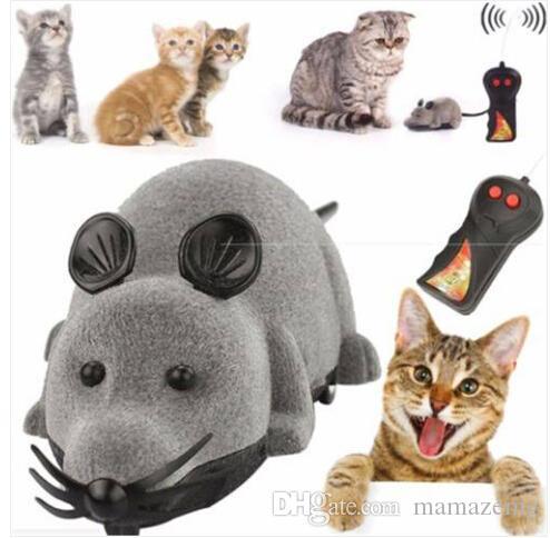 Ventas calientes !!! Ventas al por mayor envío gratis Control remoto RC Rat Mouse inalámbrico para Cat Dog Pet Toy regalo de la novedad divertido