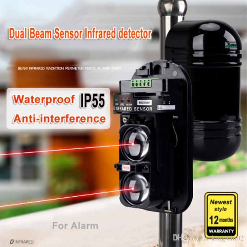 Sensor de doble haz 20M ~ 150M de fotocélulas activadas detector de movimiento infrarrojo de seguridad pared de la ventana Barrera IR exterior de movimiento de alarma