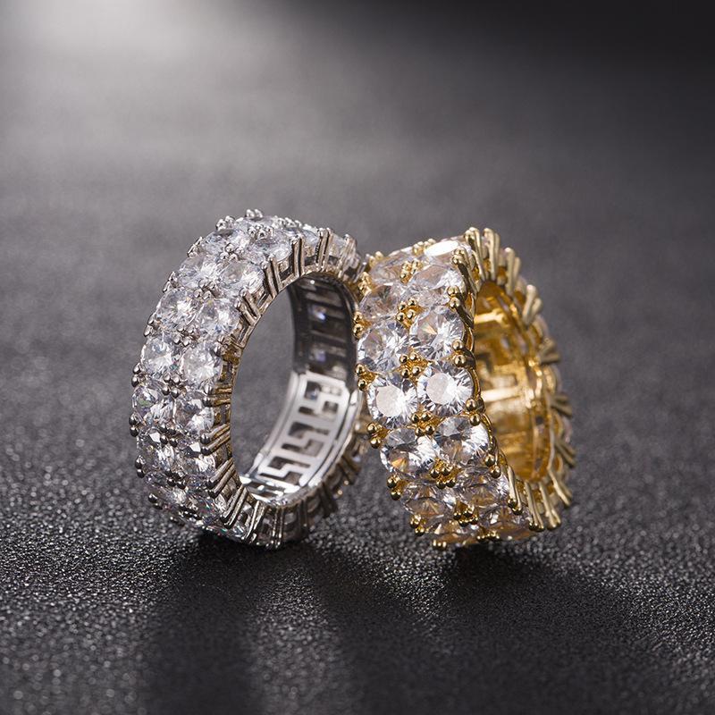 7-12 oro amore anelli Micro asfaltata 2 Row Tennis Anelli zircone Hip Hop argento placcato l'anello di barretta Uomo Donna