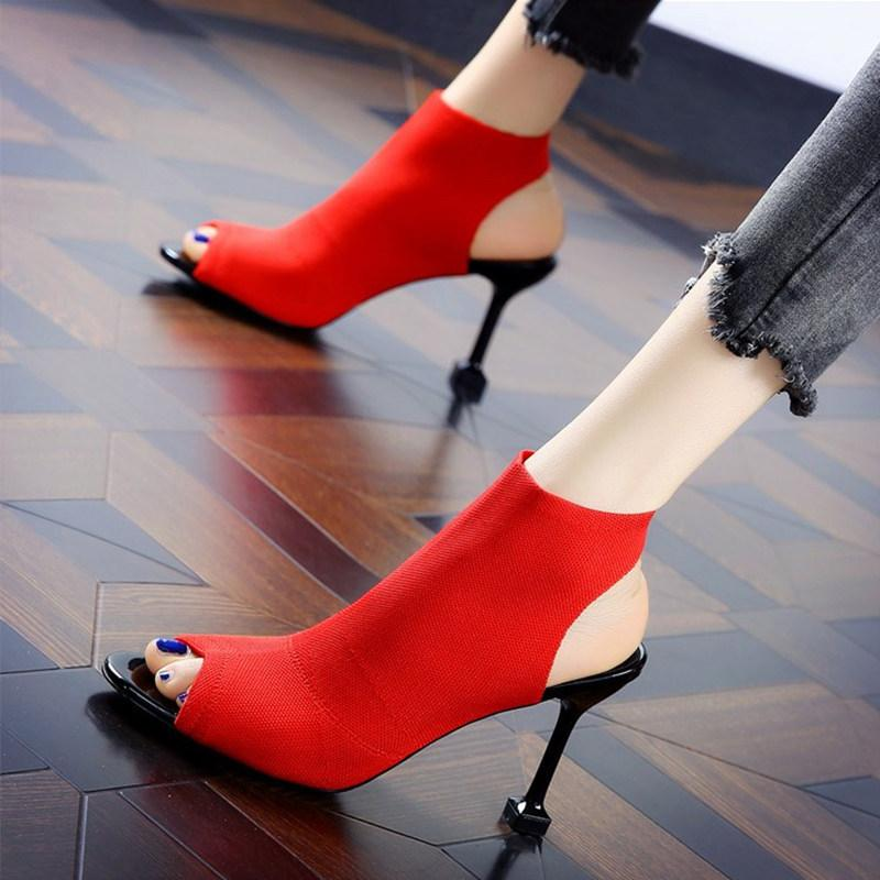 New women fashion knitted peep toe sandals 8cm stiletto heel summer lady dress shoes red black khaki sexy party shoes size 35-40