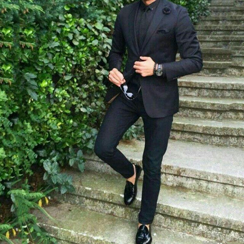 Black Custom Groom Tuxedo Men Suits for Wedding Peaked Lapel Best Man Blazer Slim Fit Jacket Pants 2Piece Prom Party Terno Masculino Costume
