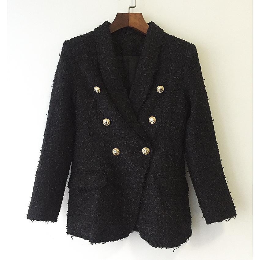 Yüksek KALITE yeni moda 2019 tasarımcı ceket ceket kadın Kruvaze Metal Aslan düğmeleri Tüvit Blazer