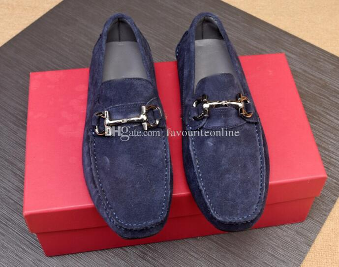 2019 Luxus New Ferra Herren Loafers Dress Echtes Leder Slip On Flats Wildleder Schuhe Größe 38-46